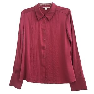 St. John Raspberry Pink Pleated Silk Blouse